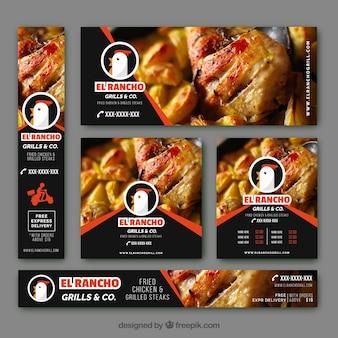 Banners modernos con pollo asado