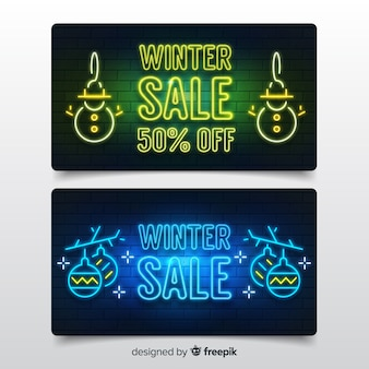Banners modernos de rebajas de invierno con estilo de luz de neón