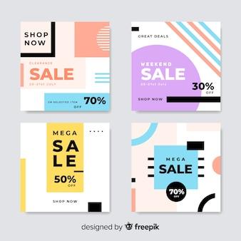 Banners modernos de rebajas para redes sociales