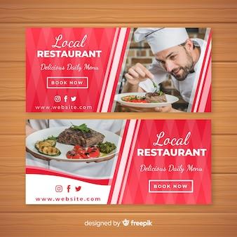 Banners modernos de restaurante con foto