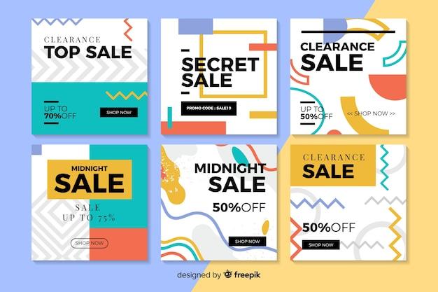 Banners modernos de ventas para redes sociales