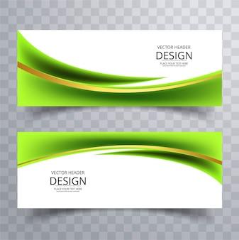 Banners modernos verdes ondulados