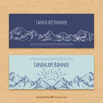 Banners de montañas dibujadas a mano