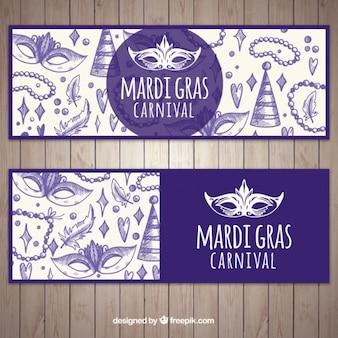 Banners morados de mardi grass con bocetos de objetos de carnaval