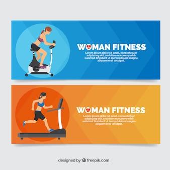 Banners de mujeres deportistas haciendo ejercicio físico