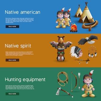 Banners de nativos americanos con atributos nacionales