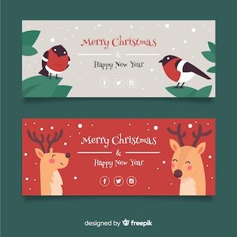 Banners de navidad en diseño flat