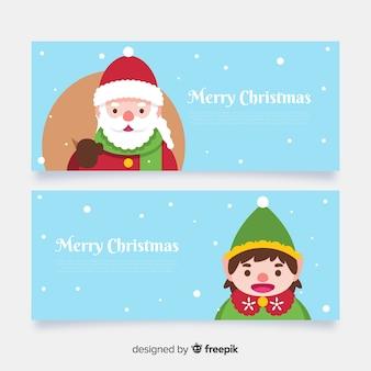 Banners de navidad en estilo flat