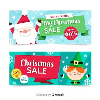 Banners de navidad de gran venta de diseño plano
