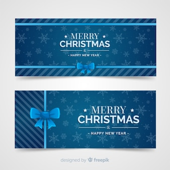 Banners de navidad hermosos en diseño flat