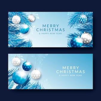 Banners de navidad realistas