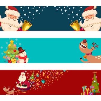 Banners de navidad con santa claus, renos, muñeco de nieve y árbol sobre un fondo blanco.