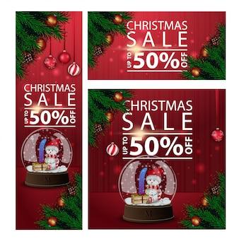 Banners navideños con descuento horizontal, vertical y cuadrado con globo de nieve