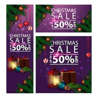 Banners navideños de descuento horizontal, vertical y cuadrado con lámpara antigua.