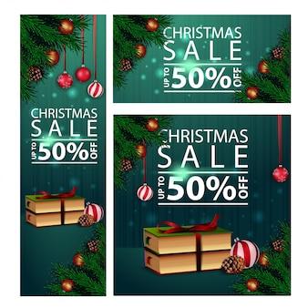 Banners navideños de descuento horizontal, vertical y cuadrado con libros de navidad.