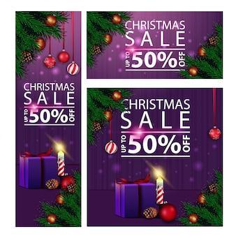 Banners navideños con descuento horizontal, vertical y cuadrado con regalos.