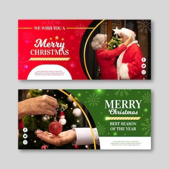 Banners navideños de diseño plano con foto