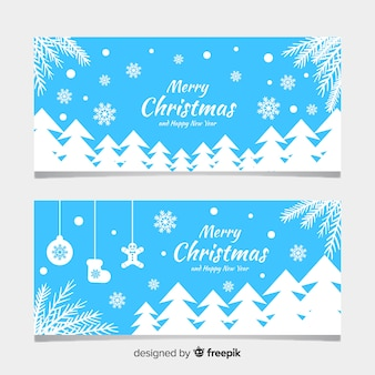 Banners navideños con diseño plano