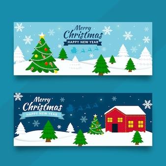 Banners navideños en diseño plano