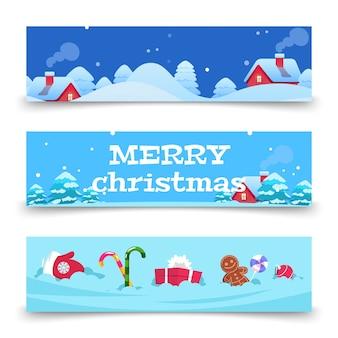 Banners navideños. fondo de navidad con nieve, casas, dulces. banners de vacaciones de invierno de dibujos animados. invierno de la casa de navidad, ilustración de la temporada de nieve de navidad