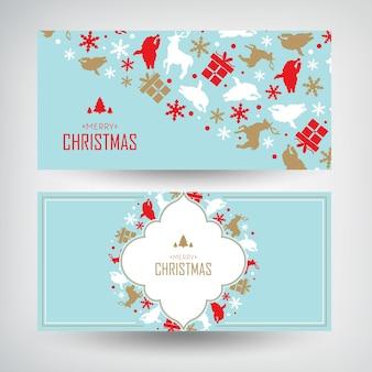 Banners navideños con palabras de saludo y regalos decorativos y elementos tradicionales.