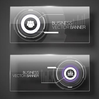 Banners de negocios abstractos en estilo futurista moderno
