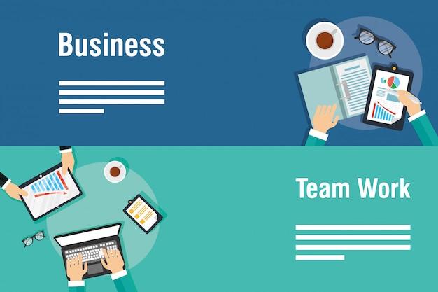 Banners de negocios y trabajo en equipo con gadgets