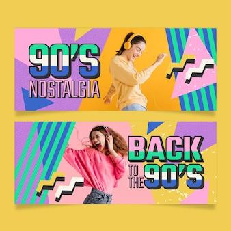Banners nostálgicos de los 90 dibujados a mano.