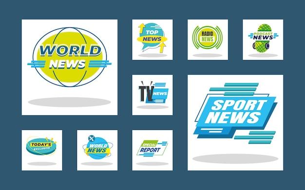 Banners de noticias y diseño de colección de iconos de etiquetas, comunicación de canal de tecnología e ilustración de tema de televisión