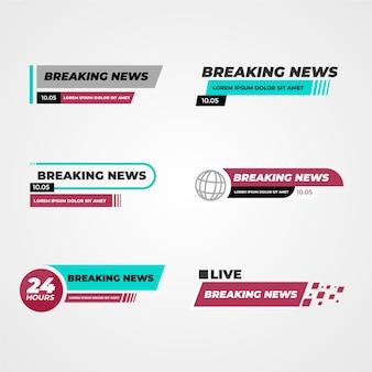 Banners de noticias de última hora azules y rojos