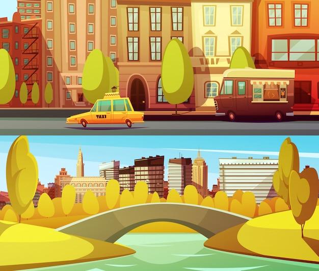 Banners de nueva york con transporte urbano en el centro y parque central en la isla de manhattan