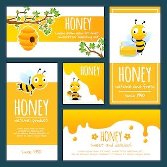 Banners o plantillas de tarjetas de abejas y miel