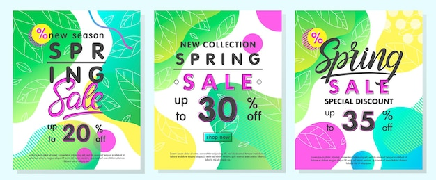 Banners de oferta especial de primavera diseños promocionales de moda con formas fluidas de degradado y elementos geométricos en estilo memphis.