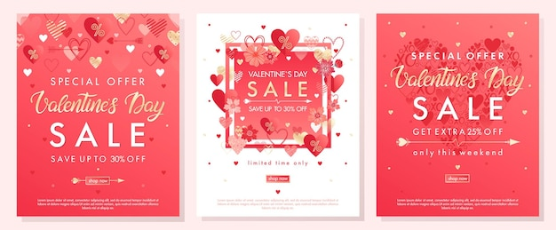 Banners de oferta especial de san valentín con diferentes corazones y elementos de lámina dorada.