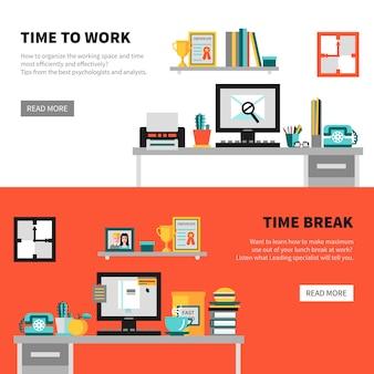 Banners de oficina con conjuntos de espacio de trabajo