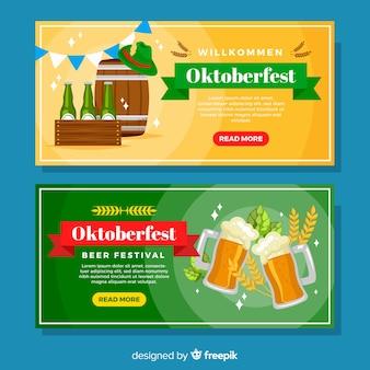 Banners del oktoberfest amarillos y verdes