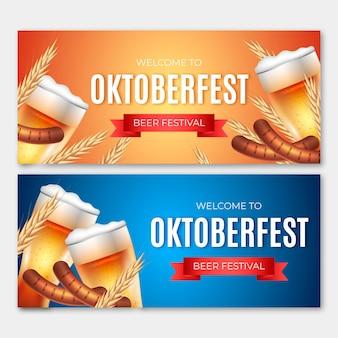 Banners de oktoberfest con cerveza y salchichas