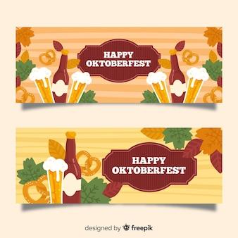 Banners de oktoberfest dibujados a mano