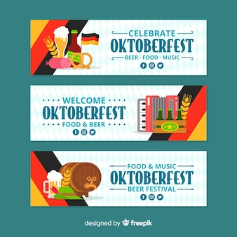Banners de oktoberfest de diseño plano con cerveza