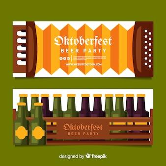 Banners oktoberfest en diseño plano