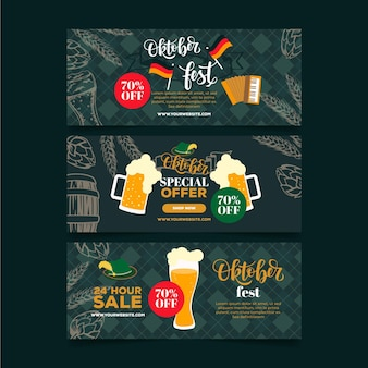 Banners de oktoberfest de diseño plano
