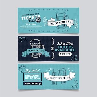 Banners de oktoberfest de diseño vintage