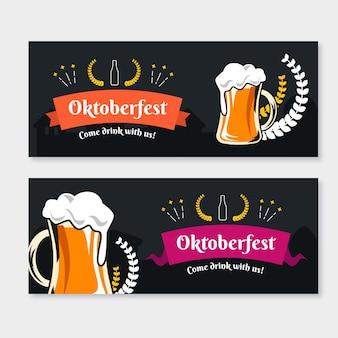 Banners de oktoberfest de estilo dibujado a mano