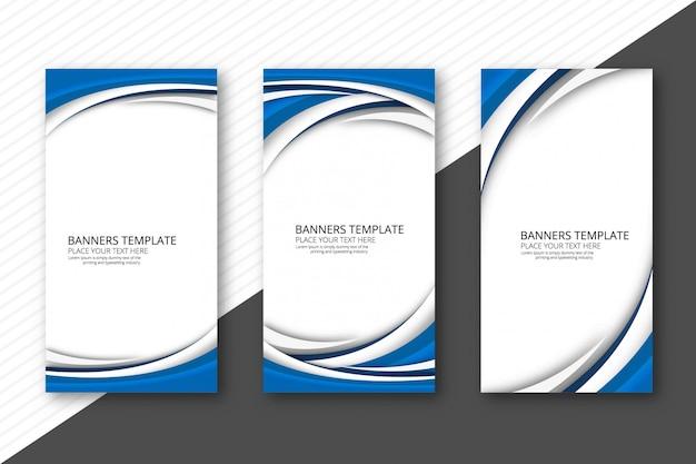 Banners de onda creativos abstractos set vector plantilla