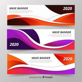 Banners de ondas abstractas