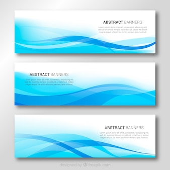 Banners de ondas azules