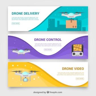 Banners ondulados de dron