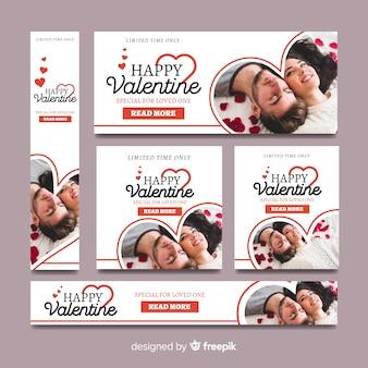 Banners online de compras del día de san valentín