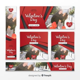 Banners online de compras de san valentín