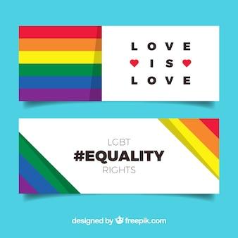Banners de orgullo lgbt en estilo plano